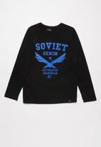 SOVIET - Boone long sleeve logo tee - navy
