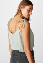 Cotton On - Astrid cropped tie strap V-neck cami - green