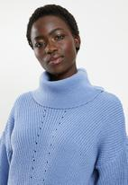 edit - Slouchy cowl neck jumper - blue