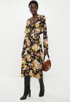 edit - Longsleeve crepe mock wrap midi dress - multi