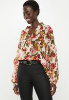 edit - Longsleeve chiffon kitty bow blouse - multi