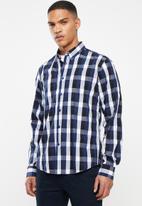 JEEP - Check regular fit shirt - navy & black