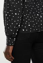 edit - Satin high neck blouse - black & white