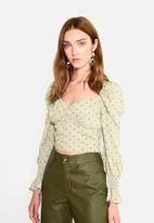 Glamorous - Petite puff sleeve blouse - green & orange