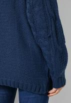 Superbalist - Roll neck cable jumper - navy