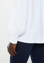 edit - Gauged boat neck blouse - white