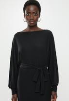 edit - Cut & sew belted midi dress - black