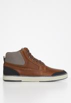 JEEP - High top leather sneaker - tan