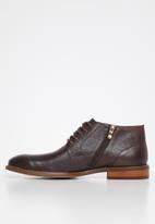 POLO - Collin leather distressed boot - dark brown