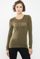 GUESS - Long sleeve pearl logo tee - khaki