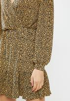 MANGO - Dress moss - beige & black