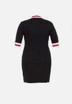 POLO - Plus Monna rib turtle neck dress - black
