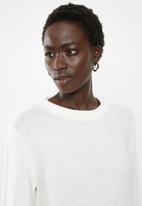 edit - Back zip crew neck jersey - white
