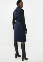 edit - Sleeveless melton coat - navy