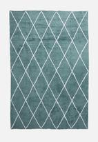 Sixth Floor - Coral blue tufted rug - teal blue & white