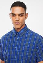 JEEP - Check short sleeve shirt - teal & navy