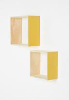 Sixth Floor - Square shelves set of 2 - Mustard