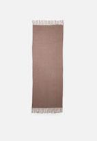 edit - Knitted fringed scarf - brown