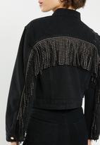 Sissy Boy - Denim jacket with rips and fringing - black