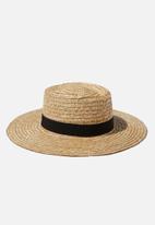 Rubi - Sandi sunken crown boater hat - natural