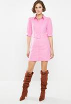 Glamorous - Belted mini shirt dress - pink