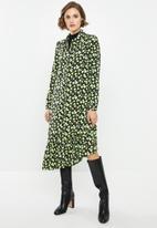 Glamorous - Mini wrap dress - green & black