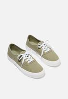 Cotton On - Jamie lace up plimsoll - khaki
