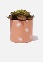 Typo - Small shaped planter - rust & white