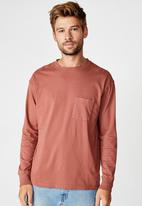 Cotton On - Acid long sleeve tee  - ox blood acid
