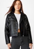 Cotton On - Venus cropped biker jacket - black