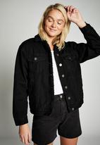 Cotton On - Sherpa denim trucker jacket - black