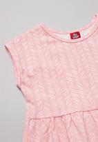 Bee Loop - Girls sleeveless dress & shrug set - pink