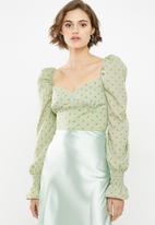 Glamorous - Puff sleeve blouse - green & orange