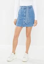 Glamorous - Button through denim skirt - blue