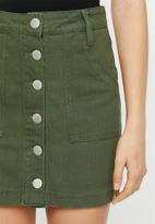 Glamorous - Button through mini skirt with tie belt - khaki