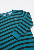 POLO - Boys Thyson striped crew neck pullover - teal