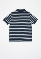 POLO - Boys Justin striped golfer - navy & grey