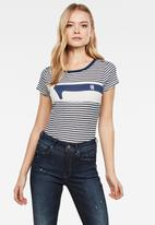 G-Star RAW - Litmic stripe one slim short sleeve tee - off white & navy