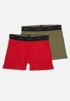 Superbalist - 2-pack Tex boxer briefs - khaki green/red