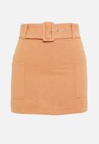 Glamorous - Petite apricot belted mini skirt - apricot