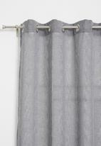 Sixth Floor - Self stripe eyelet curtain - charcoal