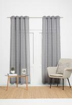 Sixth Floor - Self stripe extra length eyelet curtain - charcoal