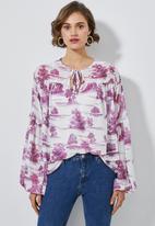 Superbalist - Boho blouse - Burgundy & white