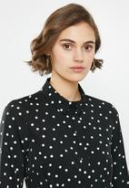 Vero Moda - Windy henna long sleeve shirt dress - black & white
