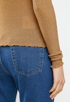 Vero Moda - Ophelia long sleeve high neck frill top - brown