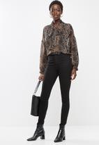 edit - Long sleeve chiffon kitty bow blouse - brown & black