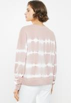 Jacqueline de Yong - Laila life long sleeve dyed sweat - dusty pink & white