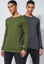 Superbalist - Plain crew neck 2 pack tees -  charcoal & fatigue green