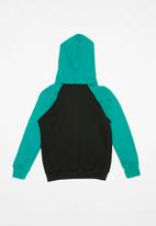 POP CANDY - Colour block raglan hoodie - black & blue