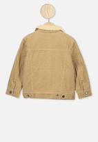 Cotton On - Jamie cord sherpa jacket - washed stone
